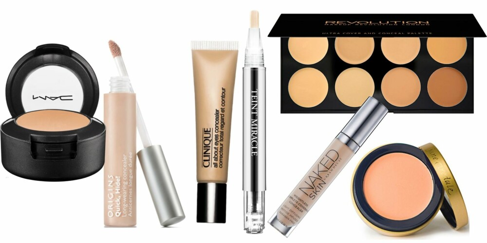KJØPETIPS: Studio Finish Concealer fra MAC, kr 160, Plantscription Anti-aging Concealer fra Origins, kr 190, All About Eyes Concealer fra Clinique, kr 190, Teint Miracle Concealer fra Lancôme, kr 320, Ultra Cover and Conceal Palette fra Makeup Revolution, kr 119, Naked Skin Weightless Complete Coverage Concealer fra Urban Decay, kr 190 og Enlighten Concealer fra Jane Iredale, kr 385.