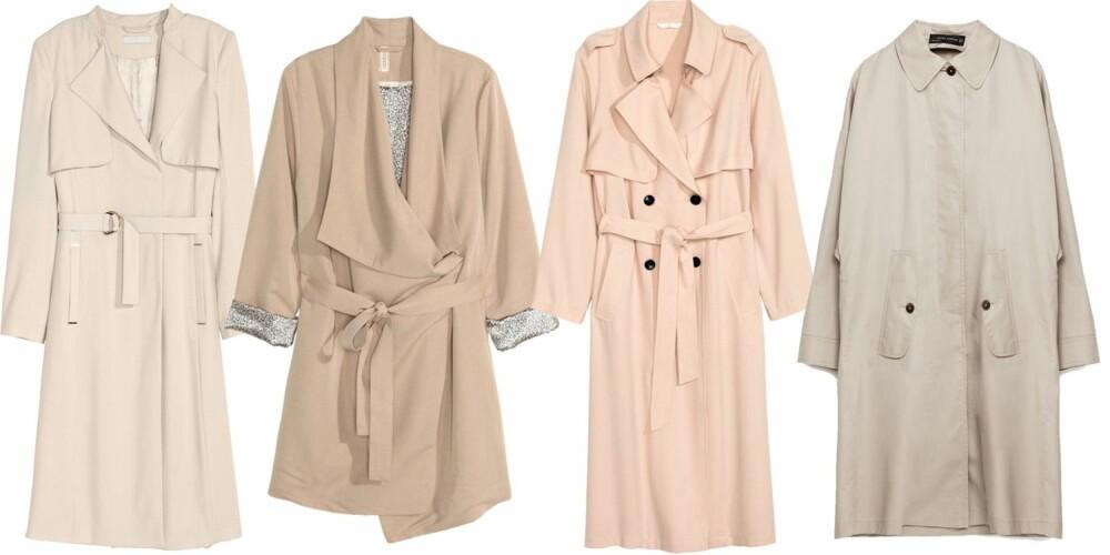 LYSE LETTE MODELLER: Med gullspenne kr 699, med mønstret fõr kr 499 og i rosa kr 499, alle tre fra H&M, og vid modell kr 999 fra Zara.
