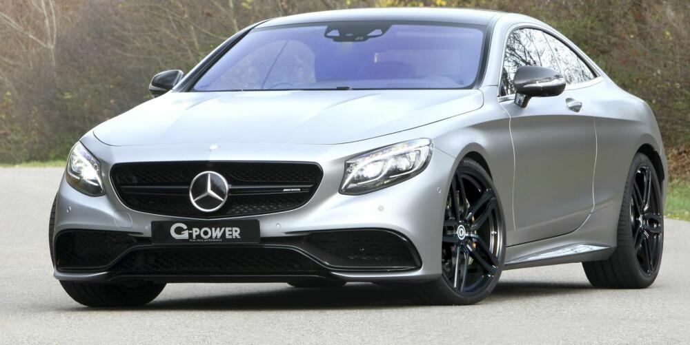 MER POWER:Konkurrenten G-Power har et alternativ. G-Power er kanskje mest kjent for å tune BMW-er, men har denne gangen tatt for seg en Mercdes S 63 AMG Coupé. Bilen har fått G-Powers egen Bi-Tronik 5 V1-oppgradering, som gjør V8 biturbo-motoren yter 705 hk i stedet for 585 hk. Dreiemomentet er økt fra 900 til 1000 Nm, og 0-100 km/t skal gå unna på 3,8 sekunder.