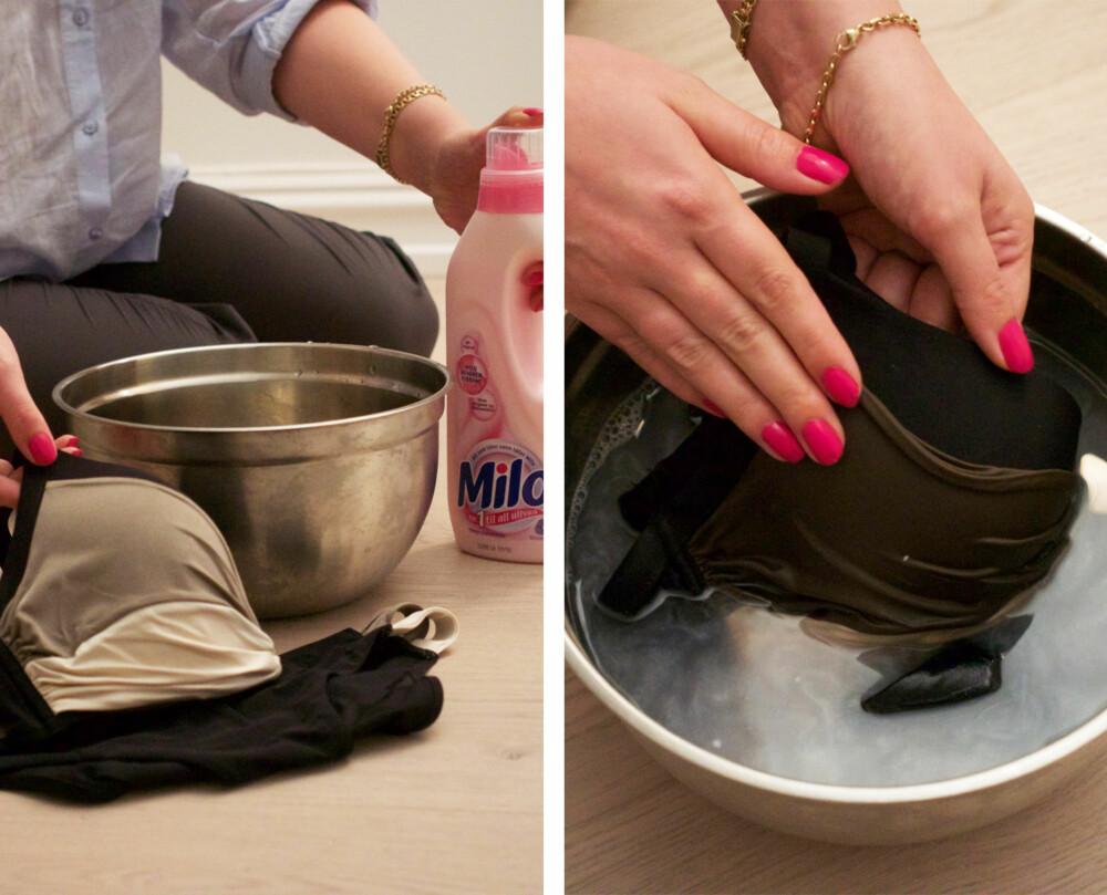 HVORDAN VASKE BADETØY: Vask badetøyet ditt for hånd om det ikke kan vaskes i maskin, og ikke bruk vaskemiddel med enzymer. Milo er perfekt her. Vask det i lunkent vann, men ikke la det ligge i bløt. Du skal heller aldri vri badetøyet, da elestanen kan bli ødelagt. Press heller vannet forsiktig ut.