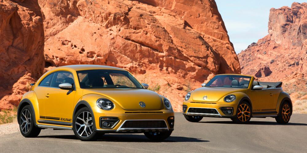 TO VALG: Som seg hør og bør kommer Beetle Dune både som kupé og kabriolet. Bakkeklaringen er ti millimeter høyere enn vanlige Beetle.