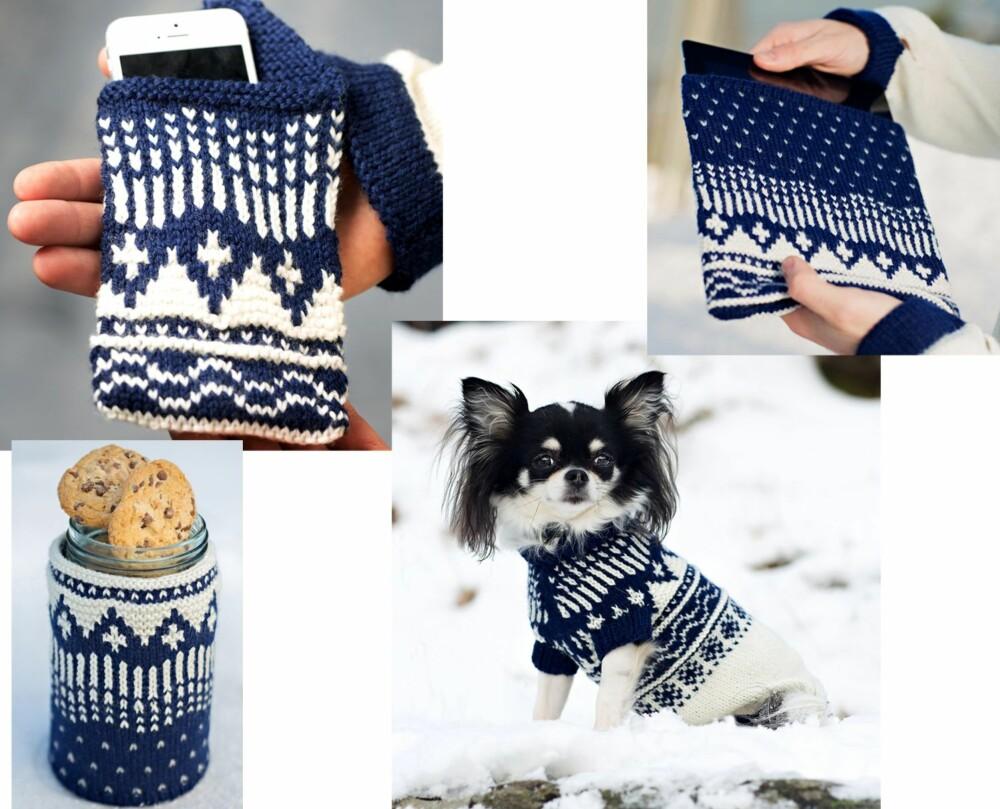 SMÅSTRIKK: Mønsteret til Norgesgenseren kan også brukes til småtstrikk, som for eksempel mobiltrekk, iPad-trekk, trekk til Norgeglasset og søt genser til hund.