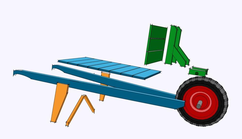 TEKNISK SPESIFIKASJON:  Tralla er 170 cm lang og 50 cm bred og høy. Hjulet foran har en diameter på 40 cm. Lastekapasitet er avhengig av motorstørrelse, men 50 kilo går uten problemer for en voksen person. Alle delene er laget i justert trevirke og hele tralla er malt med utendørsmaling. Alle sammenføyninger er limt og skrudd. ILL: Øivind Lie