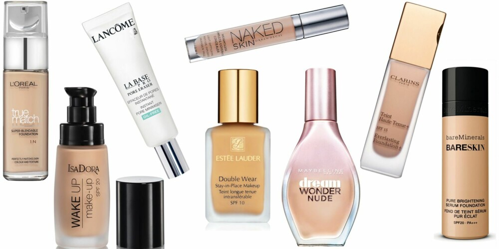 ULIKE PRODUKTER (f.v.): L'Oréal Paris True Match Super-Blendable Foundation, kr 179. IsaDora Wake Up Make-up SPF 20, kr 179. Lancôme La Base pro Poer Eraser, kr 325. Urban Decay Weighless Complete Coverage Concealer, kr 190. Estée Lauder Double Wear Stay-in-Place makeup SPF 10, kr 395. Maybelline Dream Wonder Nude, kr 159. Clarins Everlastin Foundation+ SPF 15, kr 345. BareMinerals Bareskin Pure Brightening Serum Foundation SPF 20, kr 395.
