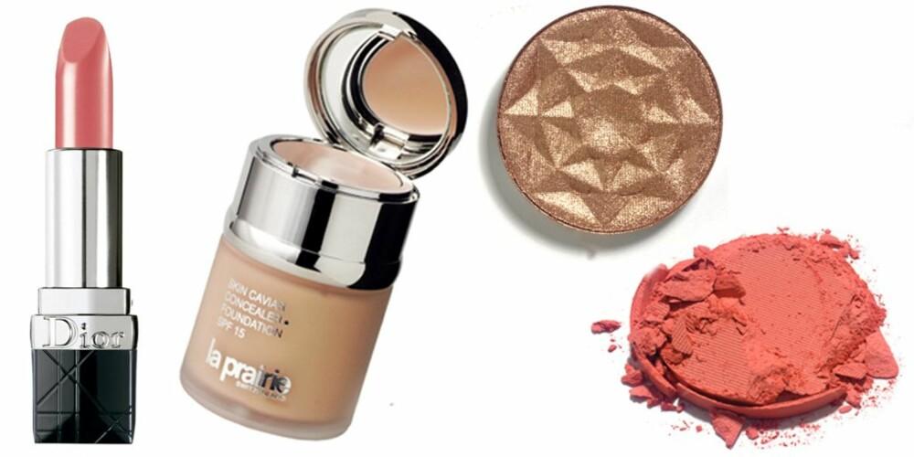 SMINKETIPS: Ha alltid favorittfoundation din i to farger. Da kan du mikse og matche til din hudtone hele året. Her ser du leppestift fra Dior, foundation fra La Prairie, øyenskygge fra L'Oréal Paris og rouge fra Make Up Store.