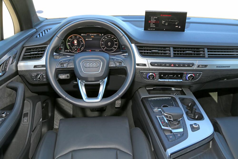 """GUNSTIG: En Audi Q7 e-tron starter på 882 400 kroner og er dermed rundt 15 000 kroner rimeligere enn dieselutgaven med """"kun"""" 272 hk."""