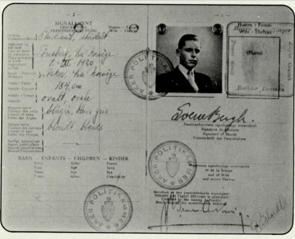 Passet Sverre Bergh brukte som student under andre verdenskrig