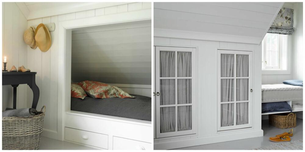 SMARTE LØSNINGER: En innebygget seng eller en smart skuffeløsning vil utnytte volumet på soverom med skråtak.