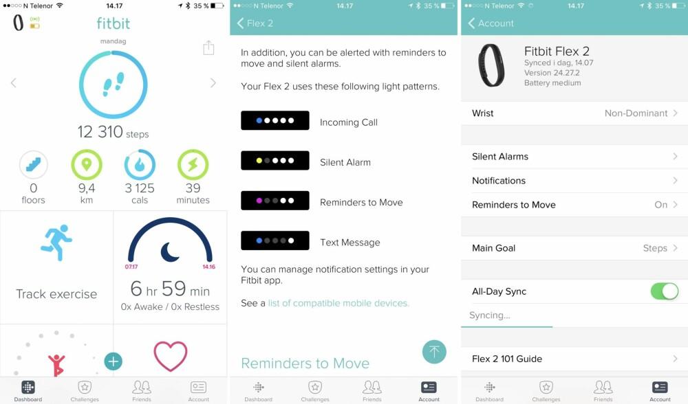 APP: Noen skjermbilder fra Fitbit-appen. På venstre side vises dashbordet, i midten en guide til lysdiodene på Flex 2 og til høyre ser du innstillingsmenyen til Flex 2.