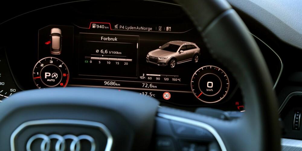 GÅR BILLIG: I vår 200 km lange forbruksrunde brukte A4 Allroad kun 0,55 l/mil. Til sammenligning brukte ladehybriden Mercedes-Benz C350e 0,68 l/mil.