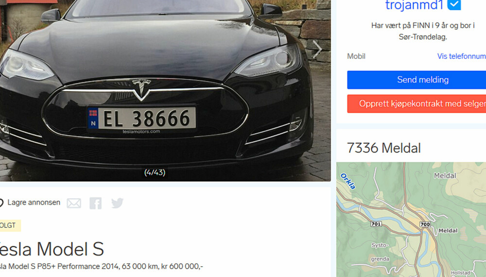 BITTER EIER: Fjorårets mest sette bilannonse på Finn.no var for en Tesla Model S, laget av en tydelig bitter eier.