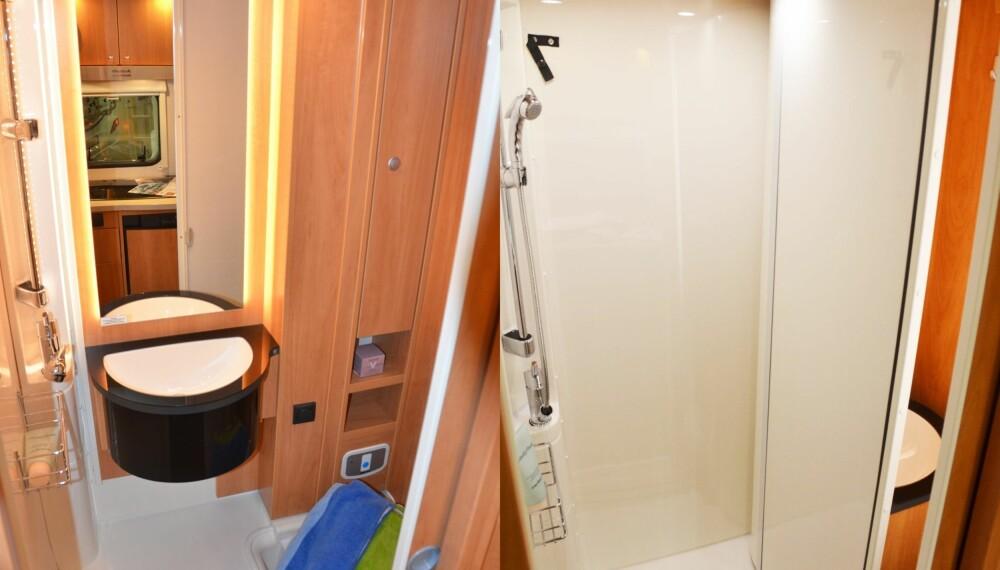 SMART BAD: En skillevegg som endres 90 grader gjør toalettet om til dusj.
