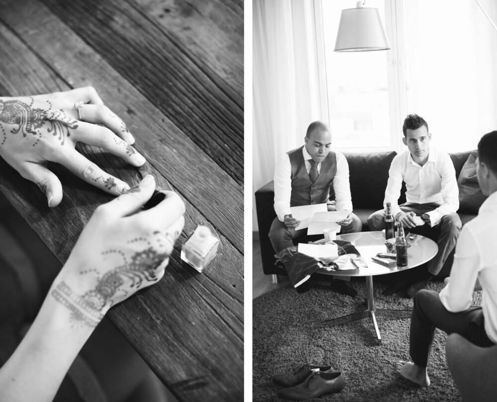 HENNATATOVERING: Hennatatovering ble kjøpt inn på Grønland i Oslo, og malt på to dager før bryllupet. BRUDGOMMEN: En øl og en god samtale på hotellrommet mellom brudgommen og hans brødre var en god start på dagen.