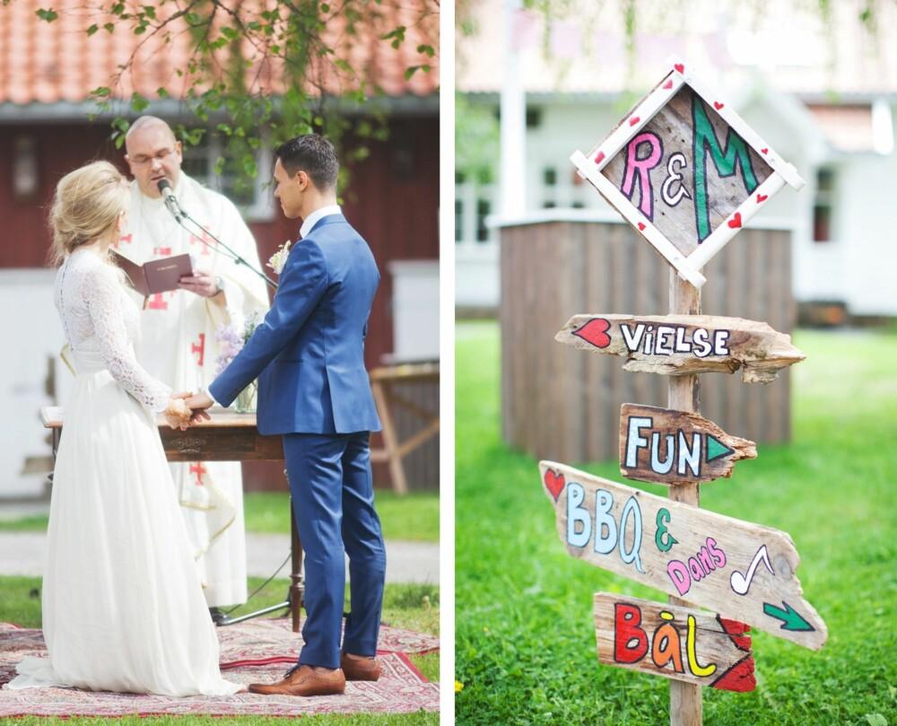 VIELSEN: Einar Gelius og brudeparet hadde satt sammen en svært personlig vielse. VEISKILT: Skiltet ble laget av planker som ble funnet på hytta til bruden på fjellet i Valdres, og malt og satt sammen av brudeparet.