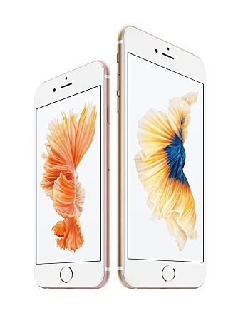 LIKT: Utseendemessig skiller ikke iPhone 6s og 6s Plus seg fra forgjengerene. Forskjellen er forskjellig fargevalg og at det er brukt samme type aluminium som i Apple Watch.