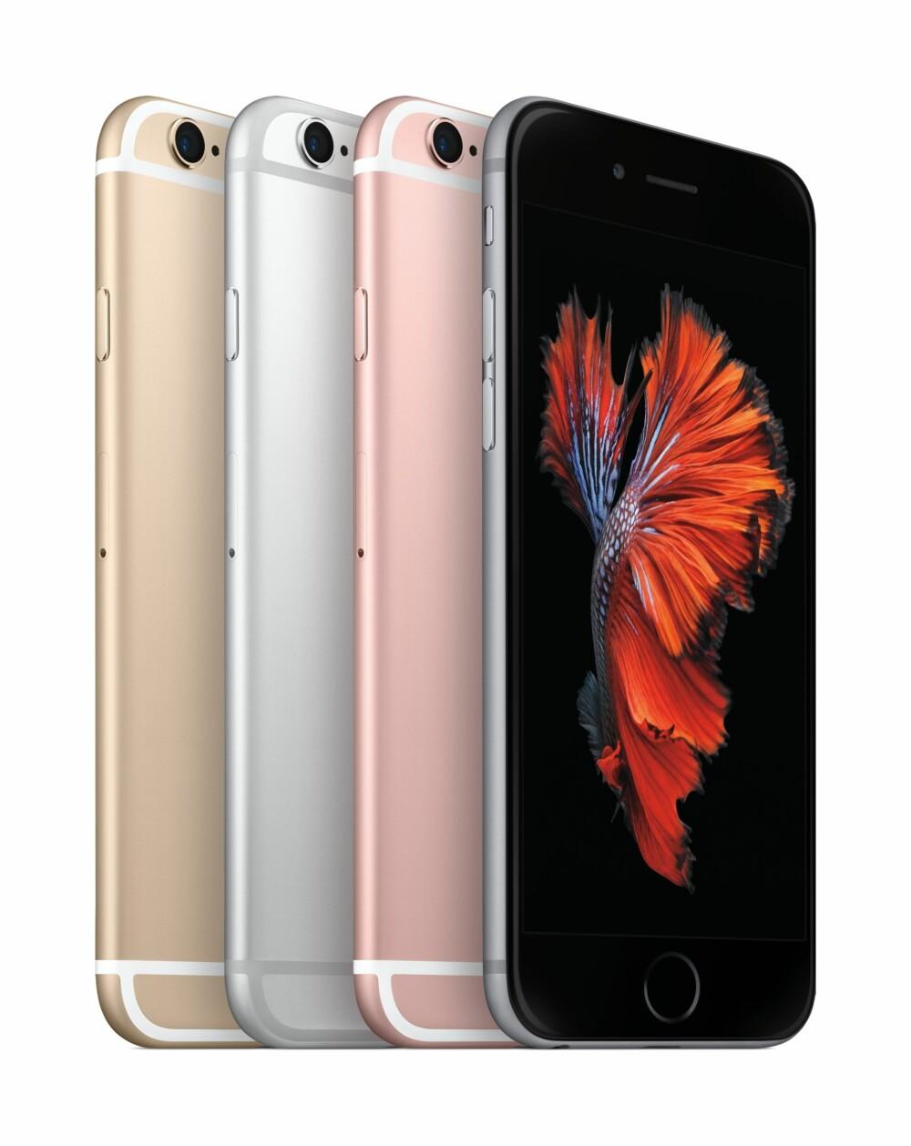 FARGEVALG: Apple iPhone 6s kommer i fire forskjellige farger.