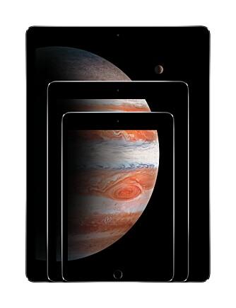 FAMILIEN: Apple har nå iPad-er i tre størrelser. iPad Pro er nykommeren med 12,9 tommer skjerm.