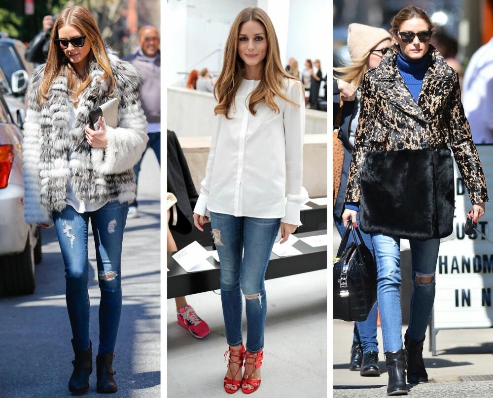 CASUAL I JEANS: Olivia er fan av skinny jeans, og viser enkelt hvordan man kan style dem til ulike anledninger.