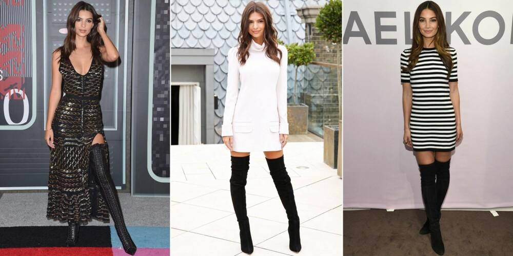 HØY MED LANGE BEN: La deg inspirere av de to modellene Emily Ratajkowski (de to bildene til venstre) og Lily Aldridge (til høyre) når du skal gå med lårhøye støvletter.