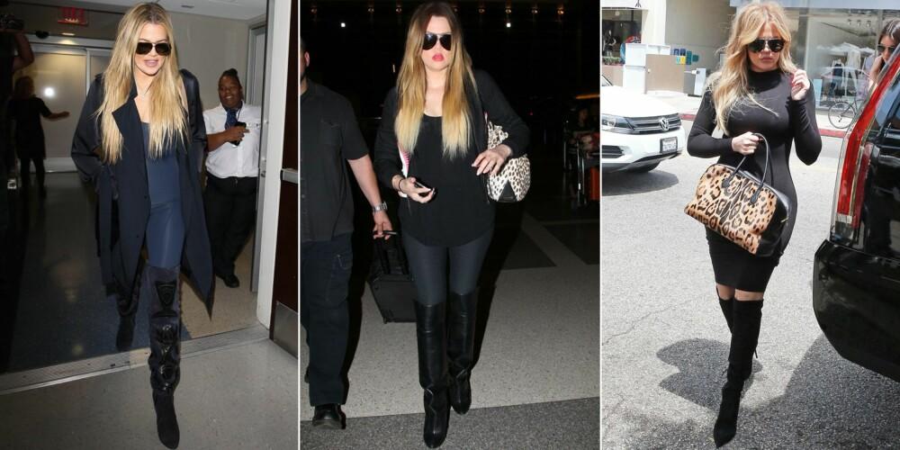 FORMFULL: Khloe Kardashian går ofte med lårhøye støvletter, og går gjerne for en mørk fargepalett for en forlengende og slankende effekt.