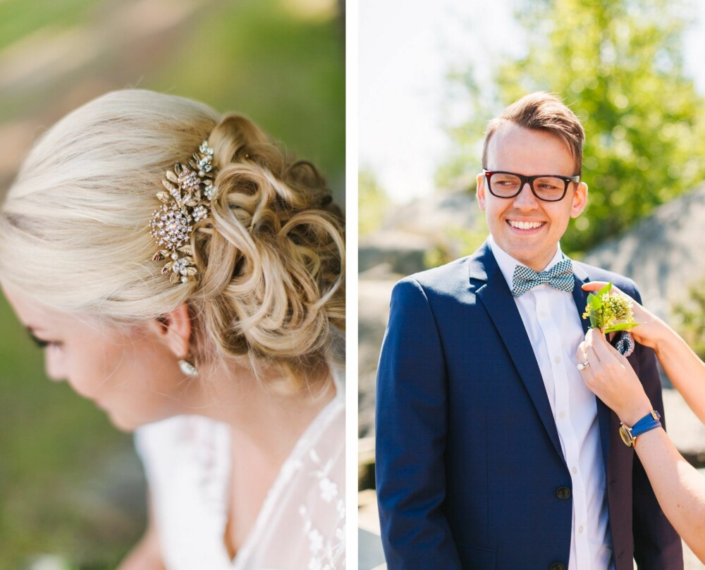 FØR VIELSEN: Bruden hadde en hjemmelaget sommerlig bukett med små margeritter og pioner. Til høyre står en spent brudgom og får på plass de siste detaljene.