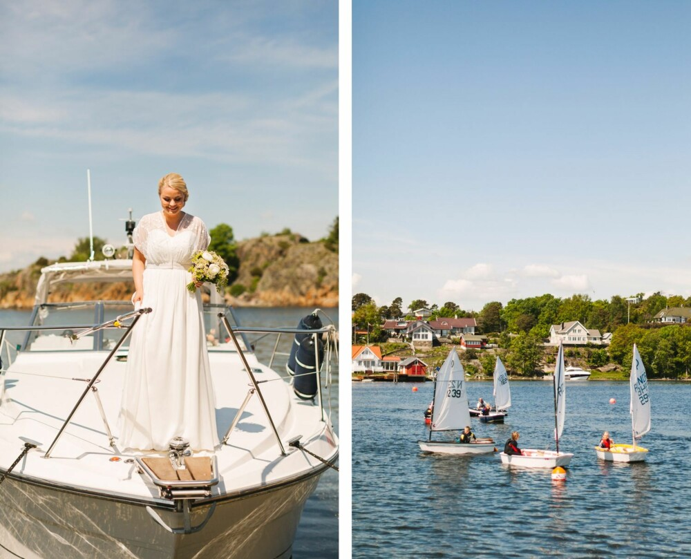 SNART I LAND: En spent brud ankommer Seilerholmen med båt for vielsen. Seilerholmen i Sandefjord viste seg fra sin mest idylliske side denne dagen.