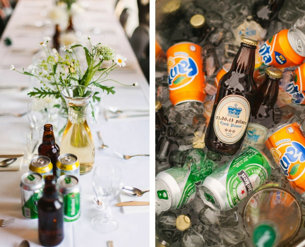 DETALJER: Dekket bord og hjemmebrygget øl for anledningen, som slo svært godt an i solsteken.