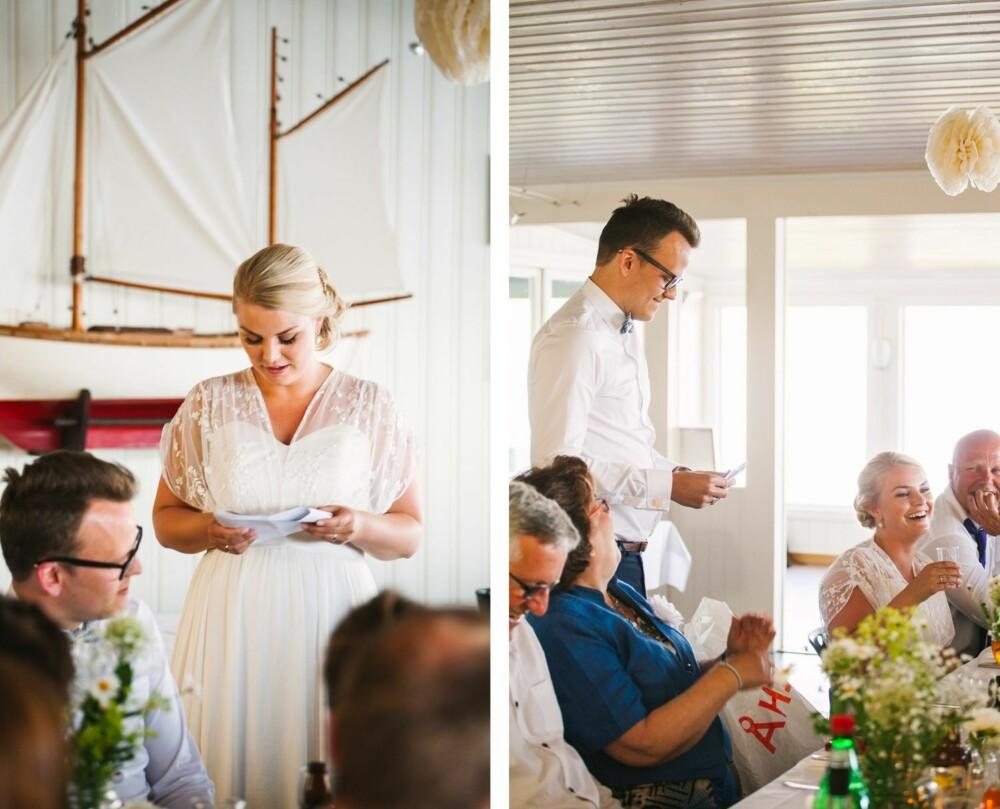 TALER TIL HVERANDRE: Camilla og Carl Thomas holdt fine, morsomme, romantiske og ganske forskjellige taler til hverandre.
