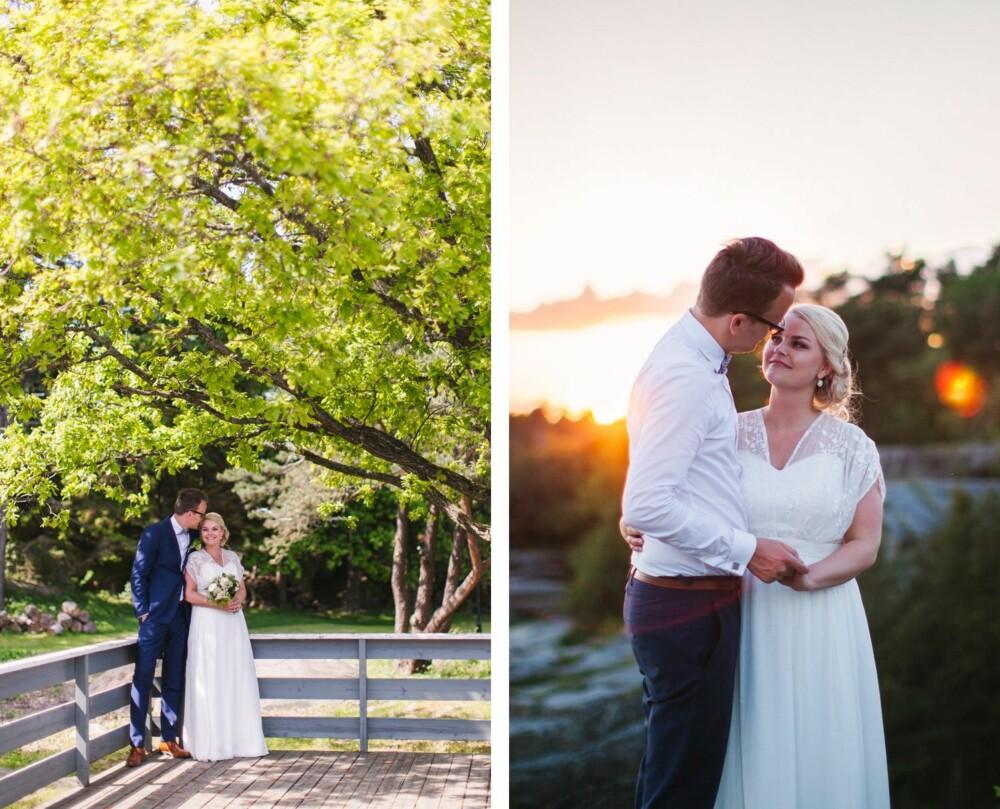 SOMMERIDYLL: - Vi var utrolig heldig med været, detblevirkelig en stor bonus i og med at vi valgte å gifte oss på Seilerholmen med utendørs vielse, sier brudeparet om den store dagen.