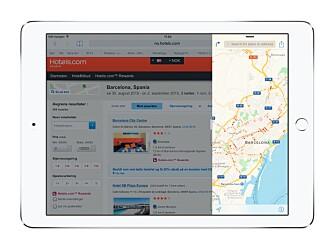 PRAKTISK: Det kan være kjekt å ha kartet oppe samtidig som man leter etter et hotell.