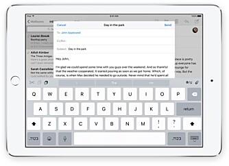 KLIPP OG LIM: Tastaturet på iPad får nå bedre funksjoner for å redigere tekst.