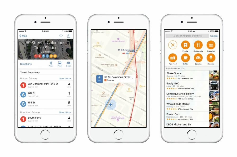 KART: For enkelte byer har kart-appen fått en såkalt Transit-funksjon.