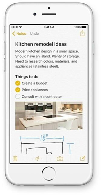 NY: Notater-appen har fått støtte for blant annet lister og tegning.