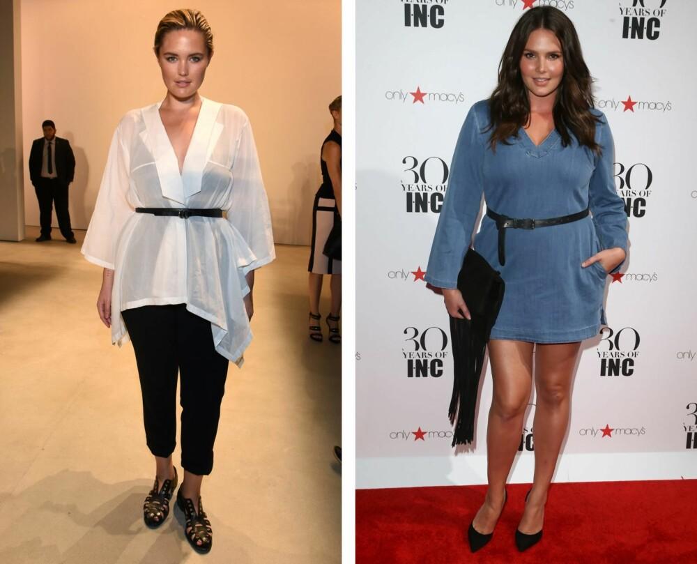 RIKTIG TILBEHØR: Med et belte i midjen oppnår du en slankere silhuett. Her sett på plus-size modellene Georgina Burke og Candice Huffine.