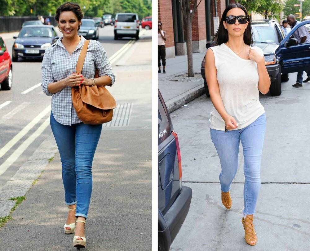 LEDIG OVERDEL: Gjør du som Kelly Brook og Kim Kardashian, altså å gå for en ledig overdel kombinert med en smal jeans, vil det skape balanse i antrekket.