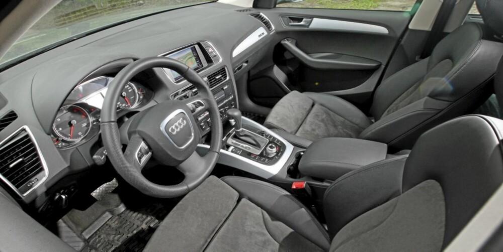 INDREFILET: Solid kvalitetsfølelse i interiøret og et flott førermiljø gir godfølelse i en brukt Audi Q5.