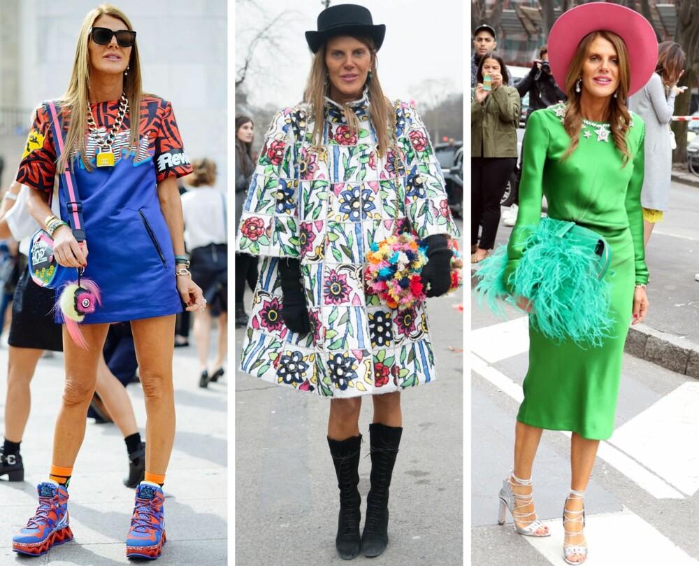 DRONNINGEN AV GLAMCORE: Italienske Anna Dello Russo er editor-at-large og creative consultant for Vogue Japan, og har i lang tid kledd seg overdrevet og uvanlig – uavhengig av glamcore-trenden som nå har dukket opp.