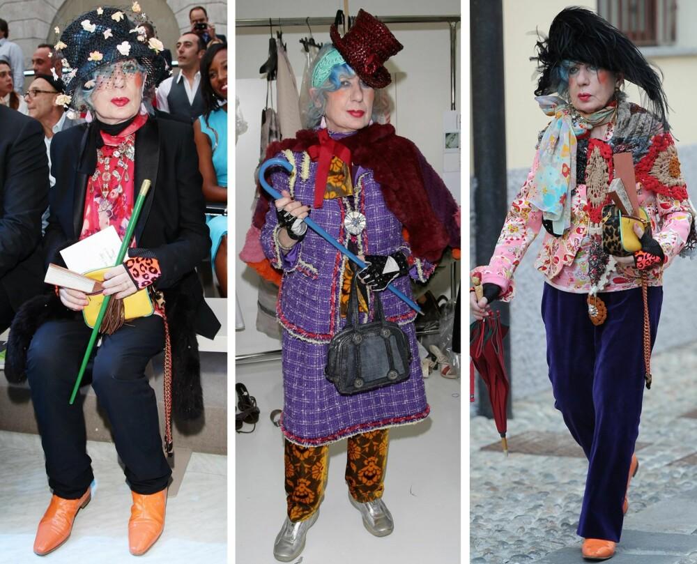ANNA PIAGGI: Den italienske motejournalisten og stilikonet Anna Piaggi var kjent for sin  eklektiske og unike stil - som på mange måter også var glamcore. Hun viste seg aldri i samme antrekk ute i offentligheten, og eide nærmere 3000 kjoler og 265 par sko.