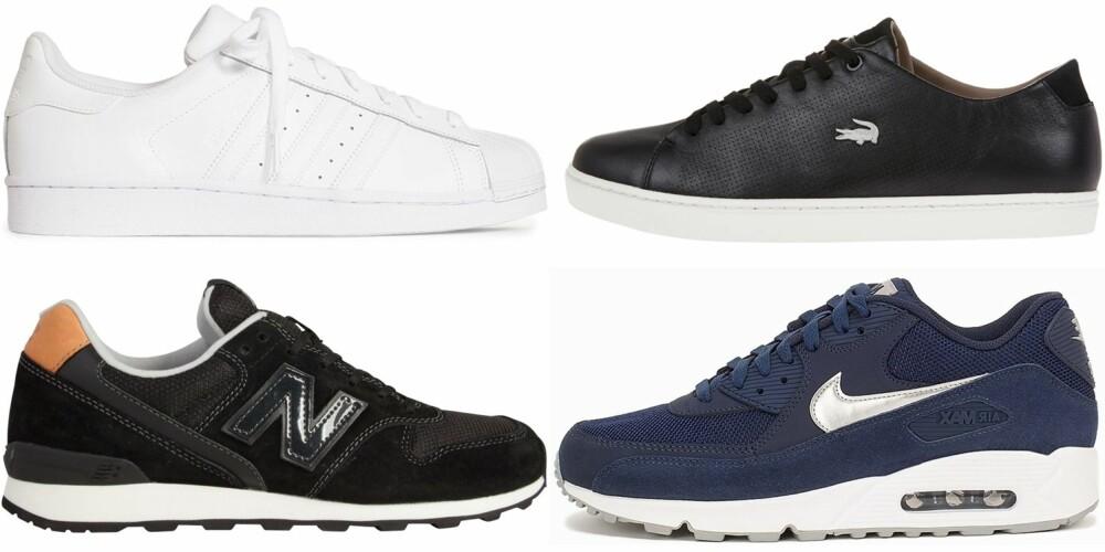 SENAKERS (øverst fra venstre): Adidas Originals, kr 899. Lacoste, kr 1299. New Balance, kr 1200. Nike, kr 1395.