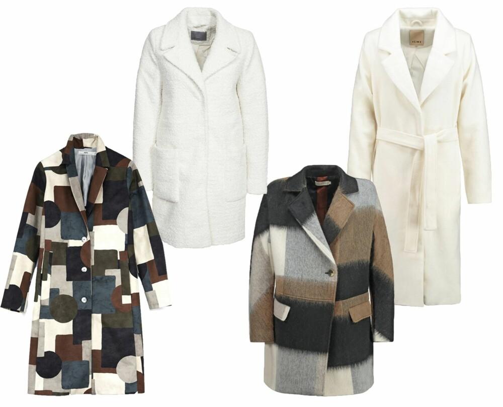 PATCHWORK OG HVITT (f.v.): Hope Rule Coat, kr 4560. Vero Moda Trudy Jacket, kr 599. Indi & Cold kåpe/Zalando, kr 2195. Ichi Kåpe Cloud Dancer, kr 1395.