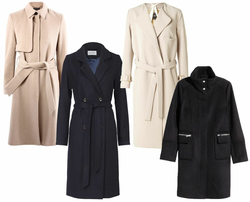 KLASSIKERE (f.v.): Riccovero, kr 4399. Ganni Malin wool coat, kr 3399. By Malene Birger Akina Coat, kr 4999. H&M kåpe i ullblanding, kr 899.