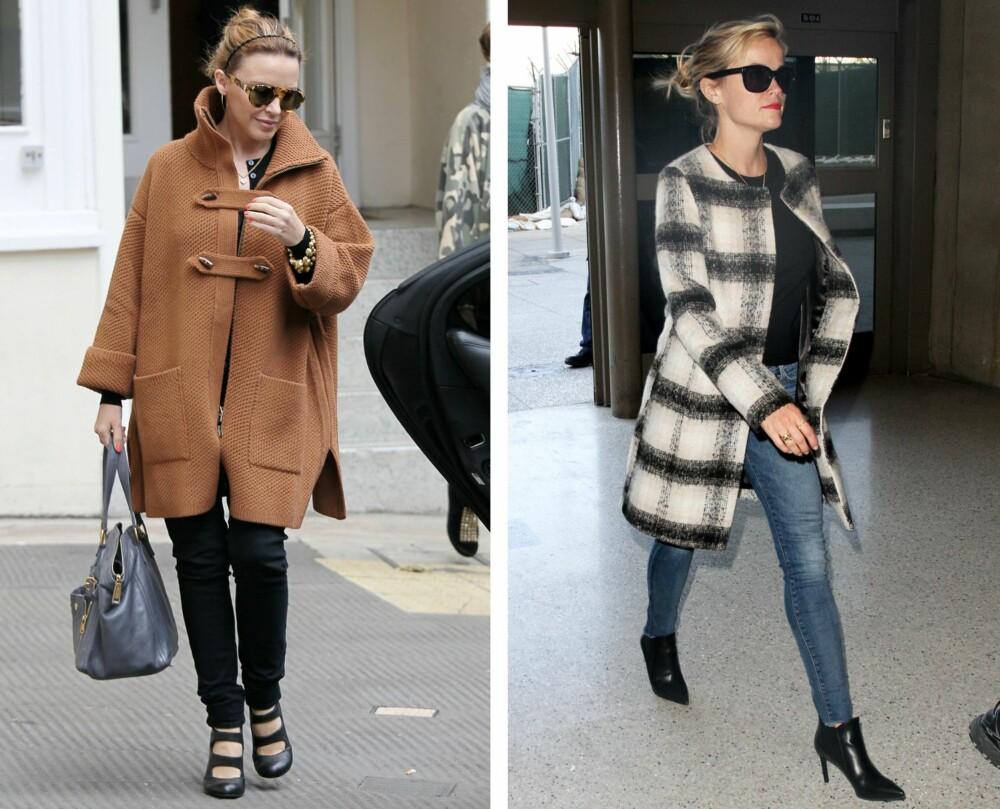 LAV OG PETITE: - Gå gjerne for en kort variant for å forlenge bena. Vil man heller ha en kåpe med litt lengde, så velg en som stopper rett over kneet og sørg for at passformen er riktig, sier Sandvik. Her sett på Kylie Minogue og Reese Witherspoon.