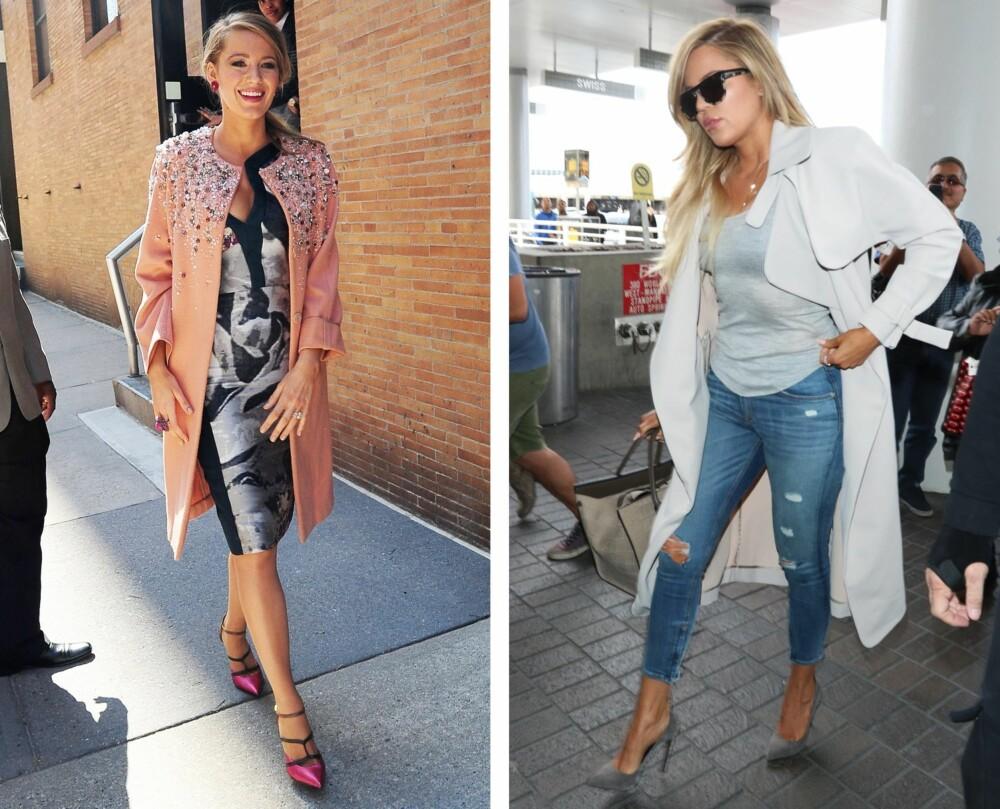 STOR VALGFRIHET: Er du høy, slik som Blake Lively og Khloe Kardashian, kler du svært mange ulike kåper, for eksempel den trendy lange kåpen.