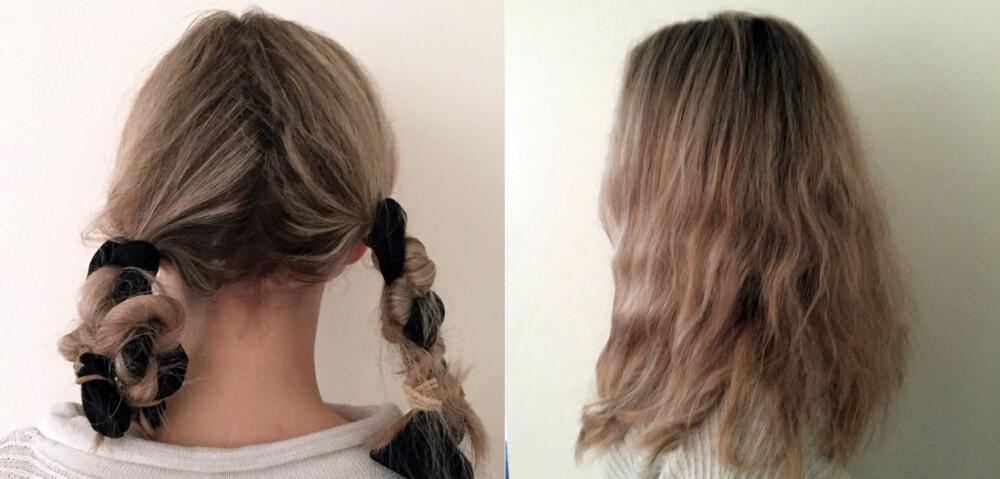 STRØMPER OVER NATTEN: Om du tvinner det tørre håret før du legger deg, våkner du med fall i håret. Det vil se ganske bustete ut med én gang, men gre det opp, bruk olje i lengdene og gjerne litt mykgjørende og fuktighetsgivende spray, så roer du ned floker og buster.
