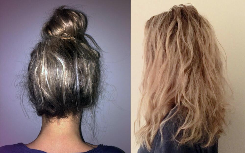 NATT OG DAG: Håret ble satt opp med hårball på kvelden. Om morgenen våkner man opp med slakke krøller i håret.