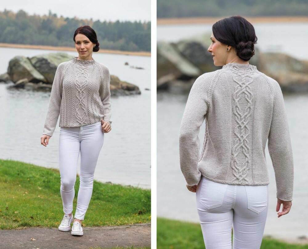 GENSEREN FERDIGSTRIKKET: Her kan du se hvordan genseren ser ut både foran og bak.