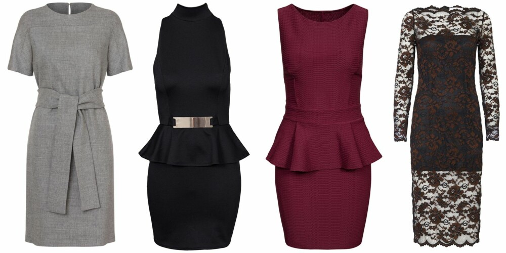 TIMEGLASSFIGUR (f.v.): Hugo Boss, kr 5299. NLY One Peplum Buckle Dress, kr 379. NLY One Cross Back Peplum Dress, kr 379. Ganni Broad St. Lace Dress, kr 1449.