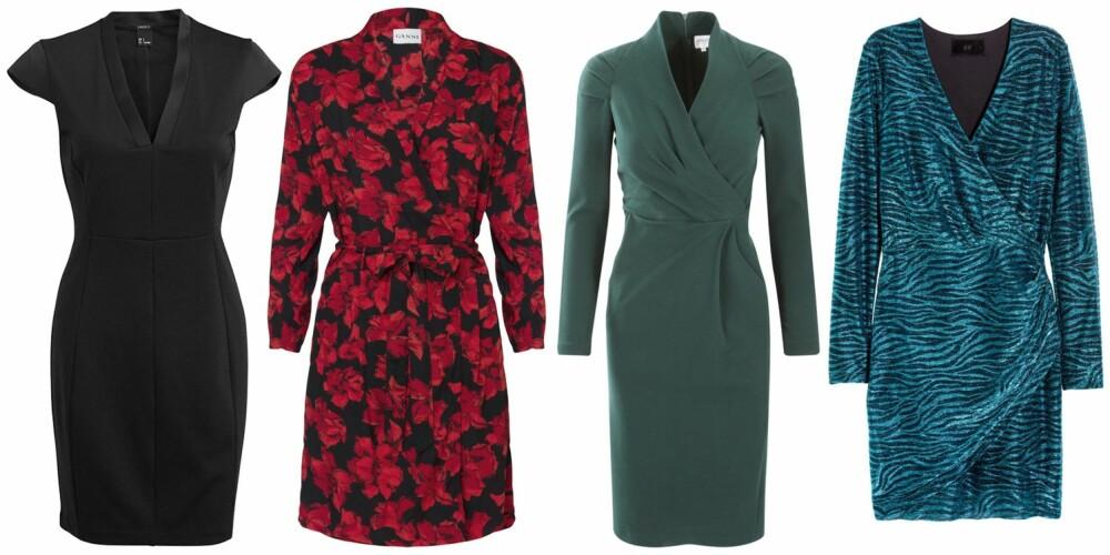 EPLEFASONG (f.v.): Lindex figurnær kjole, kr 199. Ganni Coney Island Dress, kr 1079. Armani, kr 4699. H&M Omslagskjole med glitter, kr 399.