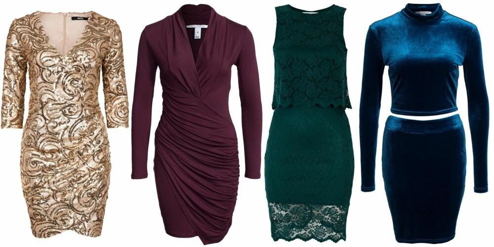 PETITE (f.v.): Bik Bok Opal Dress, kr 699. NLY Trend Drapy Front Dress, kr 329. Gina Tricot Lina blondekjole, kr 399. NLY Trend Velvet Crush Set, kr 379.