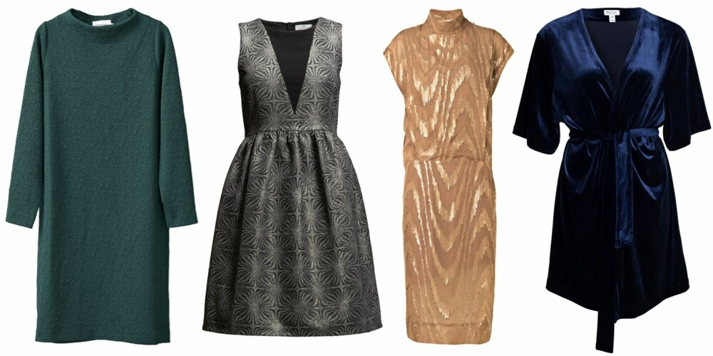 SØYLE (f.v.): Ganni Perry Dress, kr 1199. Day Day Trick Dress, kr 3199. By Malene Birger Astancia Dress, kr 3799. NLY One AH Velvet Glam Kimono, kr 349.